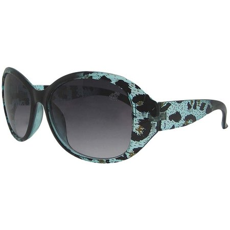 Caribbean Joe Womens Leopard Wrap Sunglasses