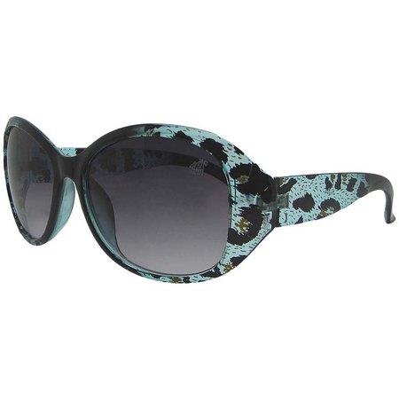 Caribbean Joe Womens Leopard Wrap Sunglasses