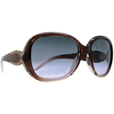 Caribbean Joe Womens Brown & Gold Tone Sunglasses