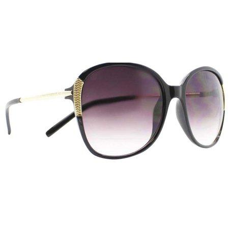 Caribbean Joe Womens Black & Gold Tone Sunglasses