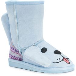 MUK LUKS Little Girls Bosco Blue Puppy Boots