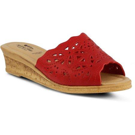 Spring Step Womens Estella Slide Wedge Sandals