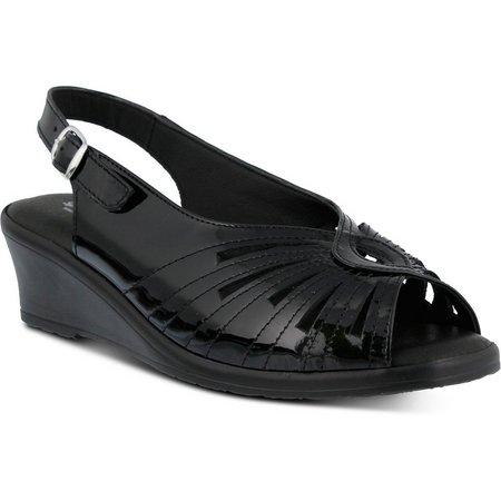 Spring Step Womens Gail Patent Sling Back Sandal