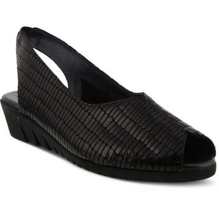 Spring Step Womens Listone Black Peep Toe Sandal