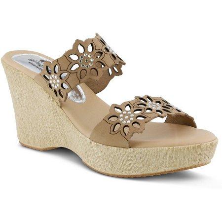 Spring Step Womens Nubuck Finn Floral Wedge Sandal