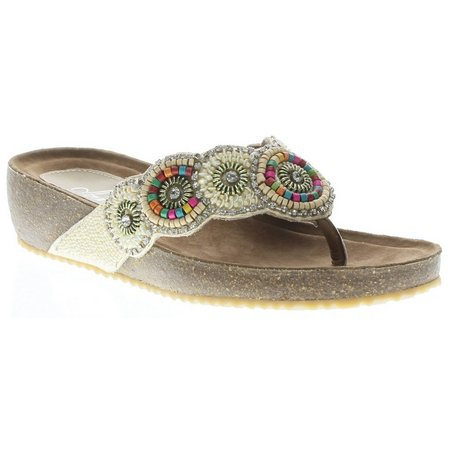 Spring Step Womens Azura Urla Beaded Thong Sandals