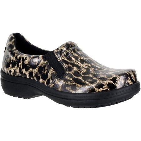 Easy Street Works Womens Bind Leopard Slip On