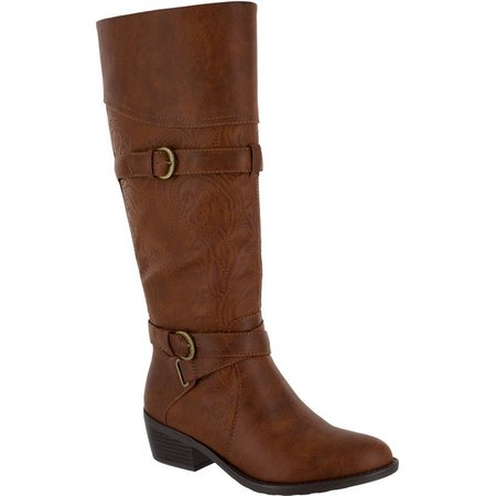 Easy Street Womens Kelsa Tall Embossed Boots