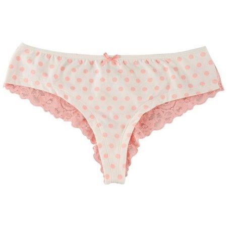 Maddie & Coco Dots Lace Back Thong Panties