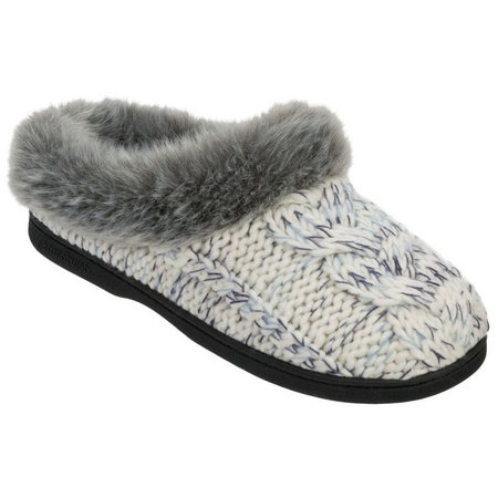 Dearfoams Womens Chunky Cable Knit Clog Slippers