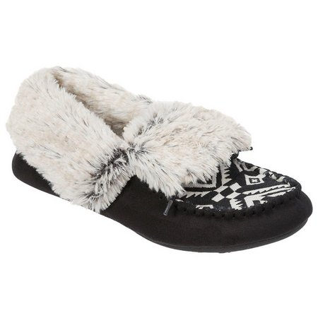 Dearfoams Tribal Print Moccasin Bootie Slippers