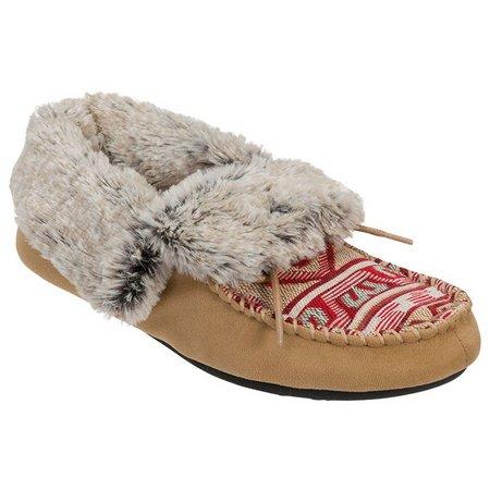 Dearfoams Faux Fur Moccasin Bootie Slippers