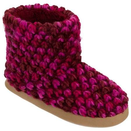 Dearfoams Womens Popcorn Knit Boot Slippers