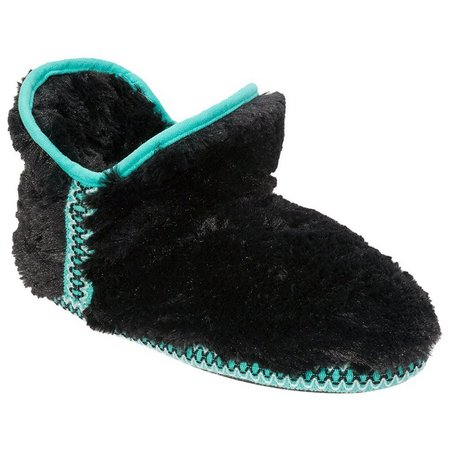 Dearfoams Womens Plush Fair Isle Bootie Slippers