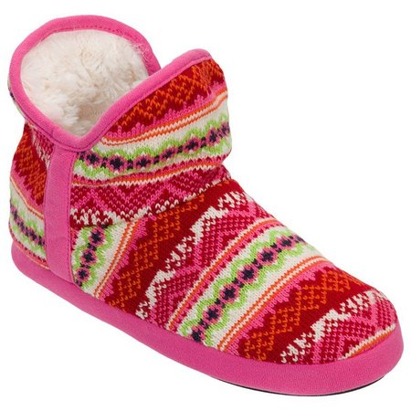 Dearfoams Womens Pink Bootie Slippers