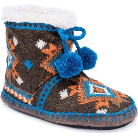 Muk Luks Womens Brown Tribal Print Bootie Slippers
