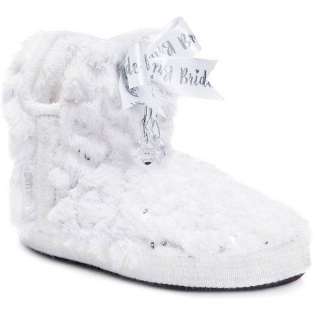Muk Luks Womens Krystal Bridal Bootie Slippers