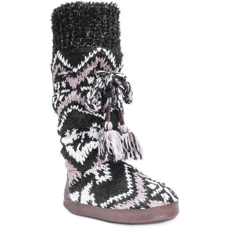 Muk Luks Womens Angie Tassel Boot Slippers