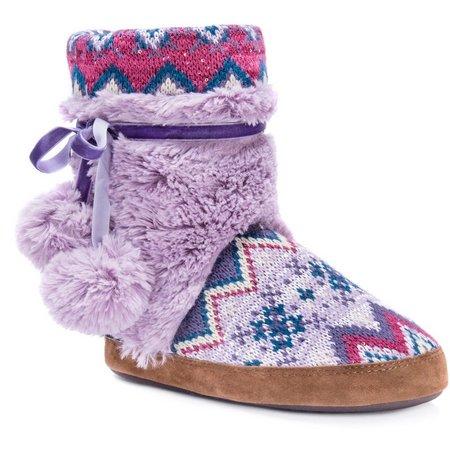 Muk Luks Womens Delanie Purple Boot Slippers