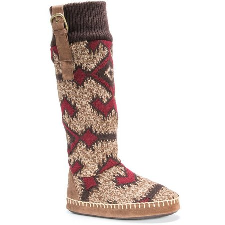 Muk Luks Womens Angela Tribal Print Boot Slippers