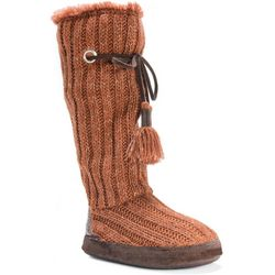 Muk Luks Womens Grace Sequin Heel Boot Slippers