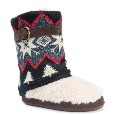 Muk Luks Womens Sofia Winter Print Boot Slippers