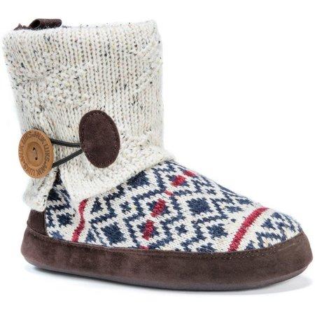 Muk Luks Womens Patti Diamond Print Boot Slippers
