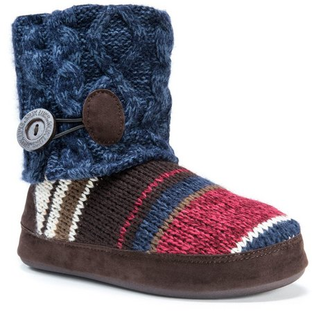 Muk Luks Womens Patti Stripe Boot Slippers