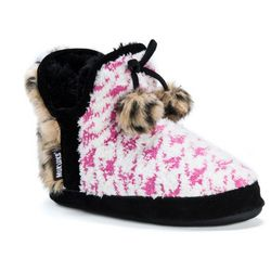 Muk Luks Womens Pennley Houndstooth Boot Slippers