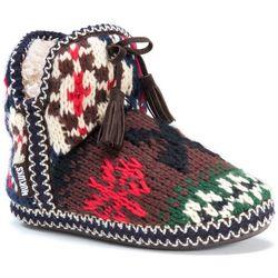 Muk Luks Womens Amira Multi Print Bootie Slippers