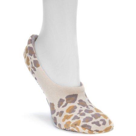 Muk Luks Womens Leopard Ballerina Slipper Socks
