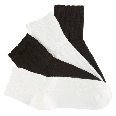Hue Womens 4-pk. Ribbed Scalloped Trim Socks