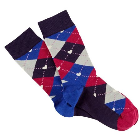 Happy Socks Womens Argyle Print Heart Crew Socks