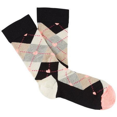 Happy Socks Womens Argyle Print Heart Accent Crew