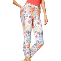 Hue Womens Floral Capri Jeans Leggings