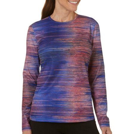 Reel Legends Womens Freeline Dotted Stripe Crew Neck