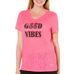 Reel Legends Womens Good Vibes Burnout T-Shirt