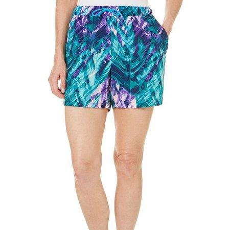 Reel Legends Womens Watery Palm Elastic Waist Shorts