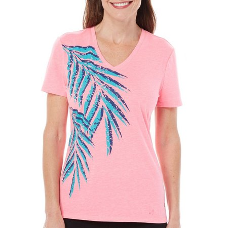 Reel Legends Womens Palm Frond Graphic T-Shirt