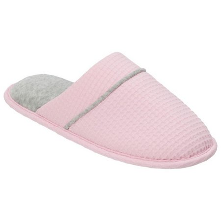 Dearfoams Womens Texture Closed Toe Scuff Slippers