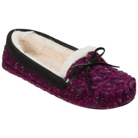 Dearfoams Womens Marled Knit Moccasin Slippers