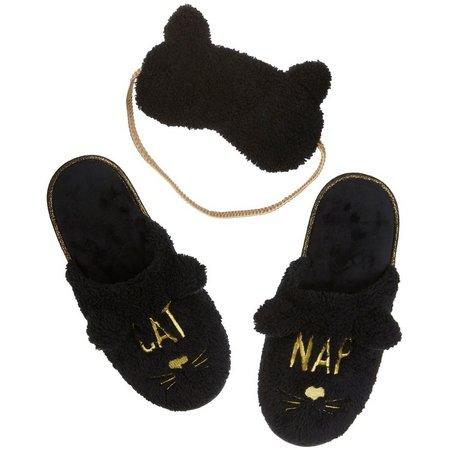 Dearfoams Womens Cat Nap Mask & Scuff Slippers
