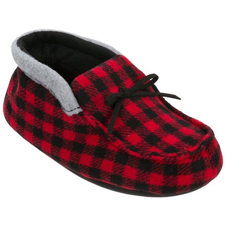 Dearfoams Boys Holiday Moccasin Bootie Slippers