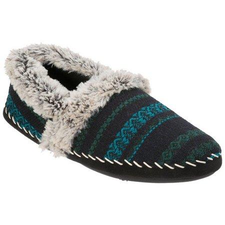 Dearfoams Womens Faux Fur Mixed Material Clog Slippers