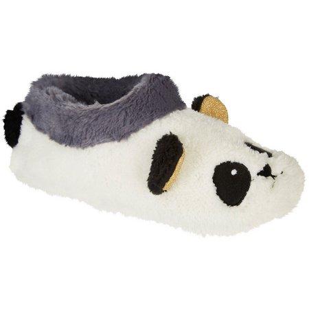 Kensie Womens Faux Sherpa Panda Slippers