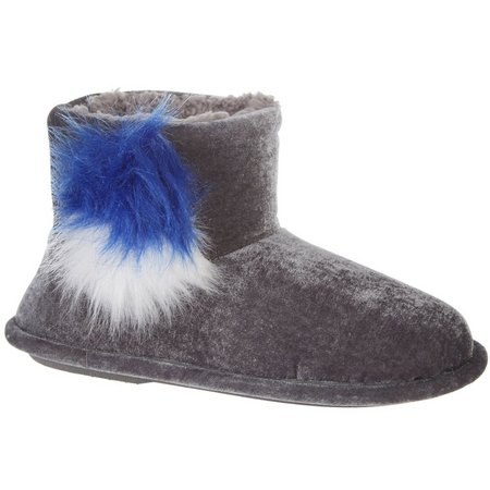 Cuddl Duds Womens Faux Fur Pom Velvet Boots