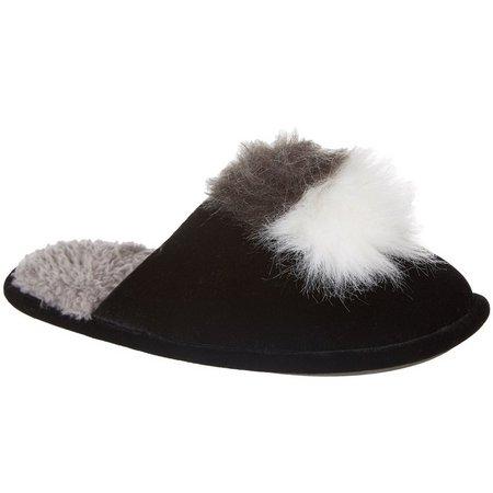 Cuddl Duds Womens Faux Fur Pom Pom Slippers
