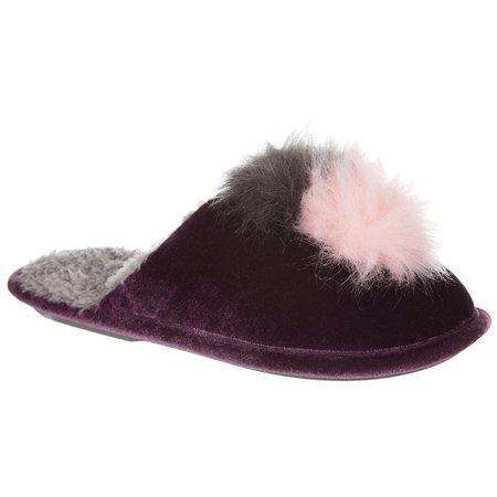 Cuddl Duds Womens Faux Fur Pom Pom Velvet
