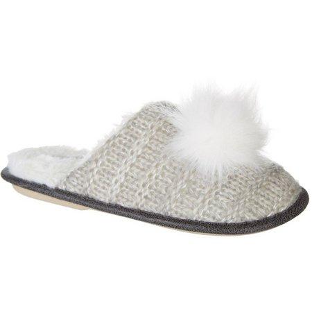 Kensie Womens Shimmer Knit Pom Slippers
