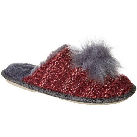 Kensie Womens Shimmer Knit Pom Pom Slippers